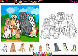 dog breeds cartoon coloring page set