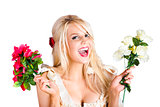 Thankful woman with fresh flower love