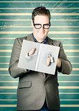 Bookworm poking through plot hole twist in book