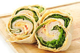 Sliced turkey wrap sandwishce