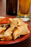 Pizza rolls and beer