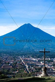 Cerro de la Cruz and Agua volcano Antigua Guatemala