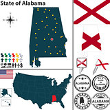 Map of state Alabama, USA