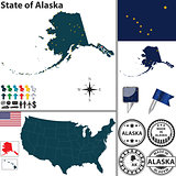 Map of state Alaska, USA