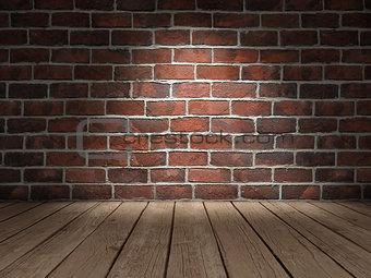 Brick wall wood floor