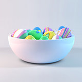 Easter eggs on a bowl