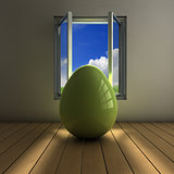 Egg on a window
