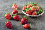 Fresh strawberries on basket