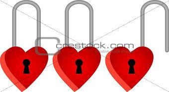 Three padlocks in shape of red hearts