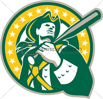 American Patriot Baseball Player Green Gold Retro