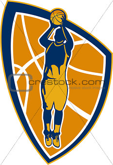 Basketball Player Jump Shot Ball Shield Retro