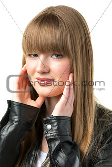 Blond woman with black leather jacket