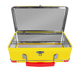 Opened Yellow metal suitcase