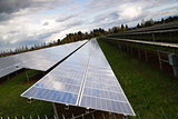 Large Bank Amorphous Solar Panels Green Renewable Energy Sun Pow