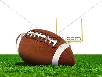 Football Ball on Grass with Goal Post