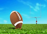 Football Ball on Kicking Tee with Goal Post