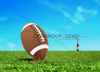 Football Ball on Kicking Tee with Goal Post