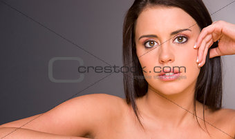 Beautiful Brunette Woman with Juicy Lips Fashion Head Shoulders