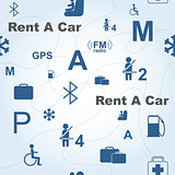 Rent a Car seamless vector pattern
