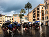 Horse carriages at the Spanish Steps in Rome