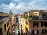 Rome panorama with roof gardens and st Peter church