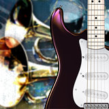 abstract grunge jazz rock background with electric guitar