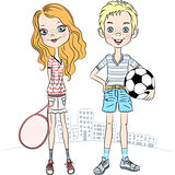 Vector girl with a tennis racket and sports boy with soccer ball