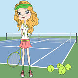 Vector girl Tennis player on the Tennis court with racquet