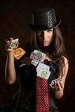 charming woman with poker cards
