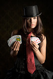 burlesque girl with poker cards