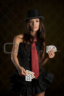 charming lady taking poker cards