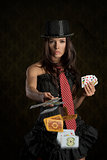 cute girl throwing poker cards