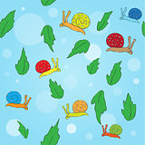 Cartoon snail and leaves seamless pattern.