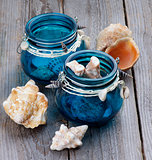 Sea Shells in Glass Jars