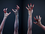 Set of bloody zombie hands