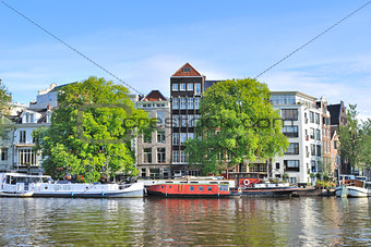 Amsterdam. River Amstel embankment