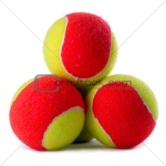 Three tennis balls on white