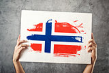 Norway flag. Man holding banner with Norweigan Flag.