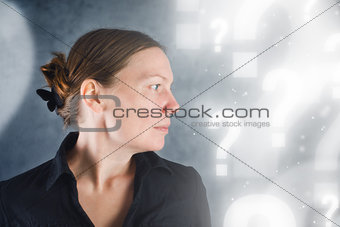 Portrait of beautiful woman questioning