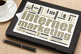 internet marketing on digital tablet