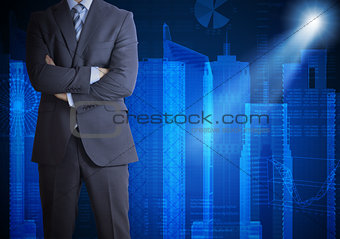 Man in suit and city of skyscrapers