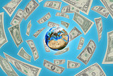 Earth on blue background. Money falling around