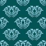 Turquoise blue damask style seamless pattern