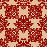 Damask style floral pattern in red