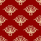 Red on beige floral seamless pattern