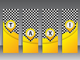 Yellow taxi labels with pointers