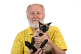 senior balding man with siamese cat