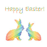 Multicolor silhouette of two Easter bunny rabbits. Design Easter