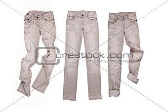 three gray jeans