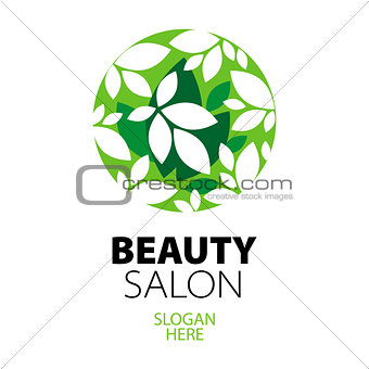 green ball of leaves logo for beauty salon